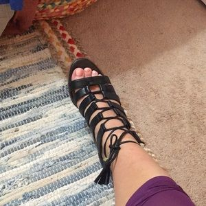 Black strappy sandals with chunky heel